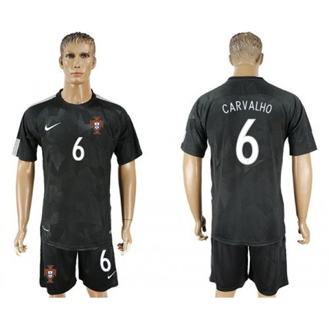 Nike/Adidas Portugal #6 Carvalho Away Soccer Country Jersey
