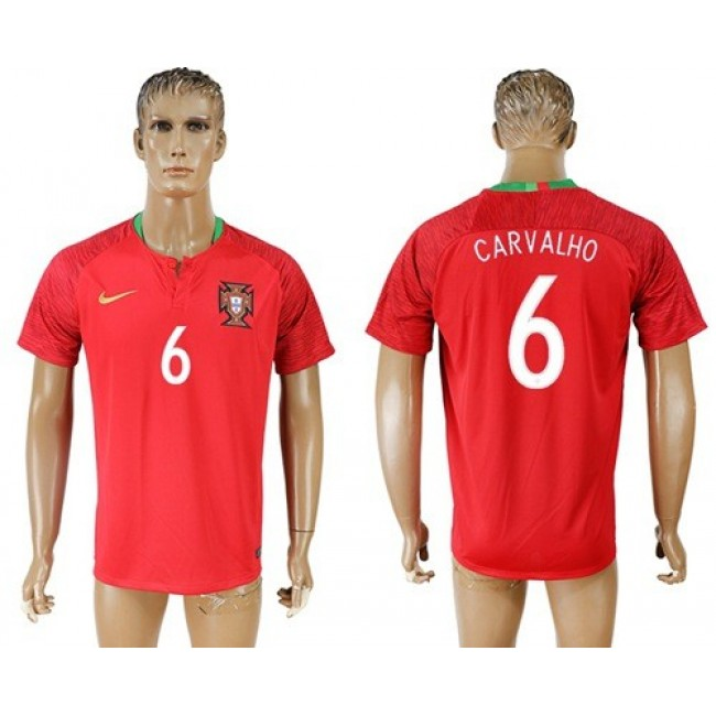 Nike/Adidas Portugal #6 Carvalho Home Soccer Country Jersey