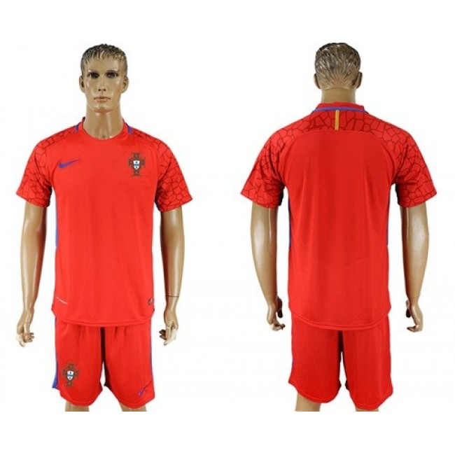 Nike/Adidas Portugal Blank Red Goalkeeper Soccer Country Jersey